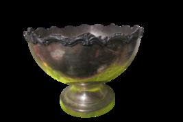 "G&C Vintage Silver Plated Bowl Planter Raised Lip On Pedestal 12.5""Tall ... - $49.50"