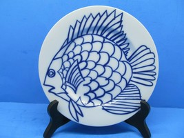 """Fitz And Floyd Les Fish In Glaze Blue White 7.5"""" Dessert Salad Plate 1976 - $14.70"""