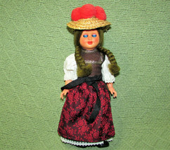 "VINTAGE 9"" DUTCH DOLL PLASTIC WITH FULL COSTUME SLEEPY EYES RARE GREEN H... - $24.75"