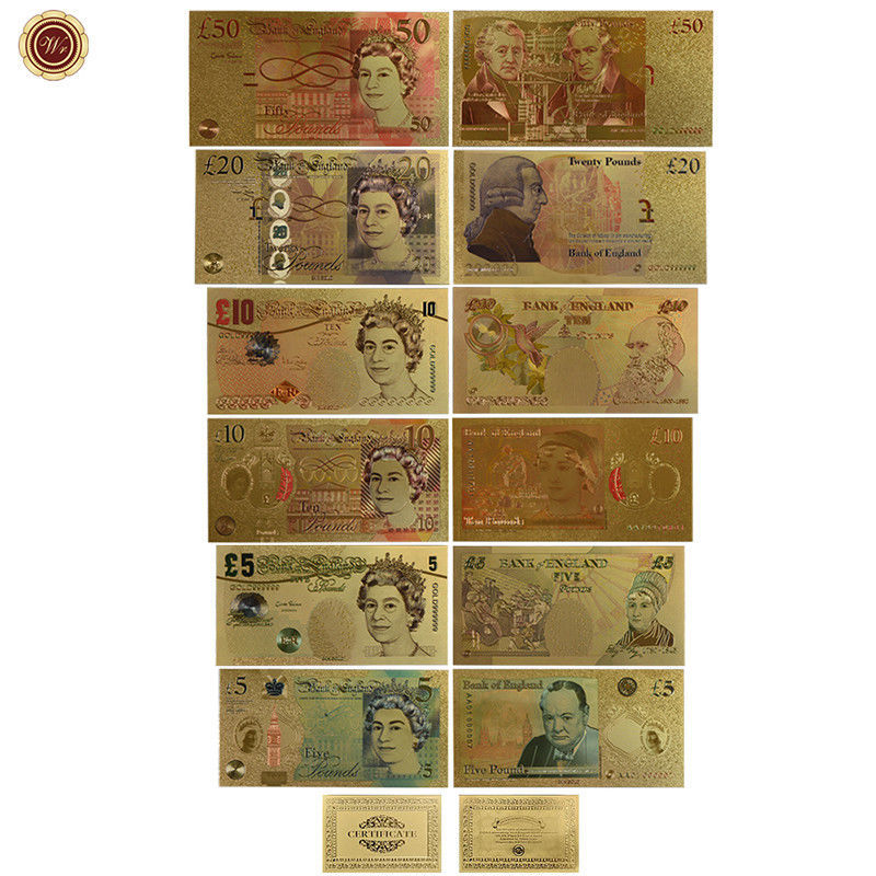 WR Set of Color Gold UK Banknotes 5 Pound - 50 Pounds British Polymer Note Gifts