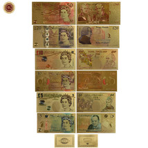 WR Set of Color Gold UK Banknotes 5 Pound - 50 Pounds British Polymer Note Gifts image 1