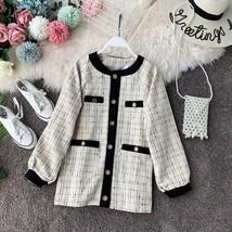 Taotrees Autumn Knit Loose Plaid Round Neck Lantern Sleeve Sweater-in Ja... - $50.30