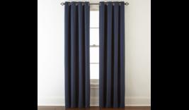 (1) JCPenney JCP Liz Claiborne Quinn INDIGO Blue Grommet Curtain Panel 5... - $65.44