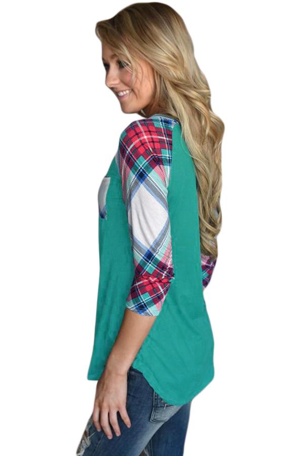Vibrant Plaid Raglan Sleeve Green Top
