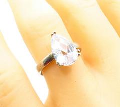 925 Silver - Vintage Tear Drop Cubic Zirconia Solitaire Ring Sz 9 - R13718 - $26.14