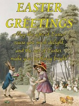 Easter Greetings, Whimsical Vintage Victorian Inspired Metal Sign - $24.95
