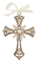 Decorative Cross Ornament Ivory Swirled Paint and Rhinestones - $10.95