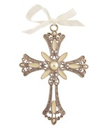 Decorative Cross Ornament Ivory Swirled Paint and Rhinestones - $10.95