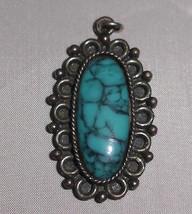 VTG Silver Tone Faux Turquoise Cabochon Necklace Pendant - $19.80