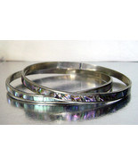 Vintage Pair Silver and Abalone Thin Bracelets Spacer Bangles Mexico 1970s - $25.00