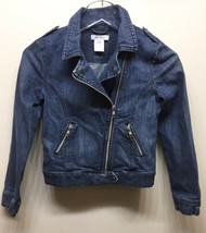 Joe Fresh Girls Moto Denim Jacket Double Breasted Distressed Blue Large ... - $22.44