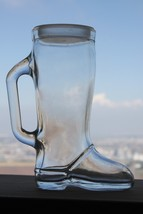 Vintage Clear Glass Cowboy Western Boot Shaped Beer Mug Drinking Cup Col... - $29.69