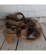 DANSKO | Women's Size 38 Brown Daniela T Strap Sandals Open Toe Block Heel - $48.99