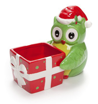 NEW CERAMIC CHRISTMAS OWL CANDY SNACK BOWL DISH - $17.82