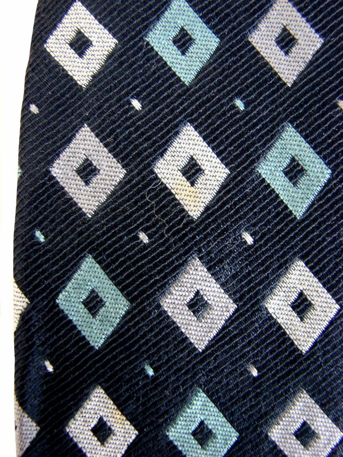 PAUL SMITH Tie Black – Green & Grey Diamonds EXTRA WIDE