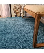 Shag Area Rug 3x5 | Plain Solid Turquoise Blue Shag Rugs for Living Room... - $19.23
