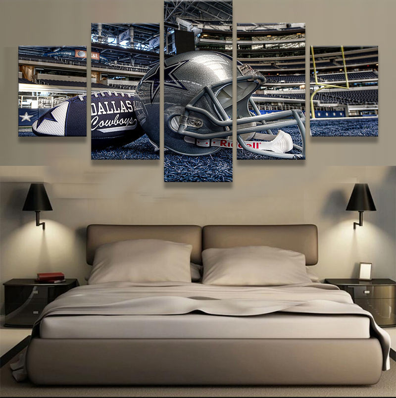 5 Panels Dallas Cowboys Canvas Prints Painting Wall Art Sport NFL Home Decor for sale  USA
