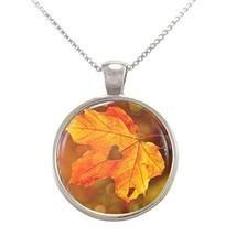 Autumn Leaf with Heart Cut Out Pendant Necklace - $19.99