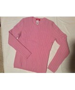 Womens M ANNE KLEIN SPORT Pink 100% Cashmere cable Knit Crew Sweater - $27.04
