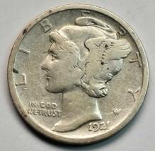 1921 Key Date Silver Mercury Dime 10¢ Coin Lot# A664