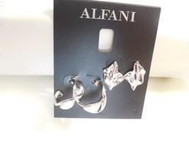 "Alfani Silver-Tone 2-Pc. Set 3/4"" Sculpted Wave Stud & Hoop Earrings B98... - $13.43"