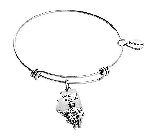 State of Illinois Charm Bangle Bracelet (silver-plated-base)