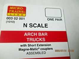 Micro-Trains Stock # 00302001 (1010)  Arch Bar Trucks Short Extension N-Scale image 3