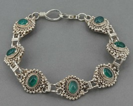 """7.75"""" Sterling Silver Chrysoprase Cabochon Link Bracelet with Bead & Rop... - $29.99"""