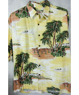 OUTSTANDING Tori Richard Yellow Rayon Hawaiian Shirt With Ships and Hula... - $37.26