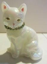 Fenton Signed Iridescent Cat Figurine  Rhinestone Collar - $18.95