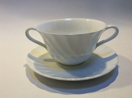 Wedgwood Candlelight White Swirl Cream Soup Bowl Cup & Saucer Set s - $24.73