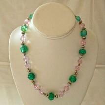 "Art Glass Bead Necklace Handmade Pink Green Gold Tone Boho Gypsy 18"" Tog... - $14.99"