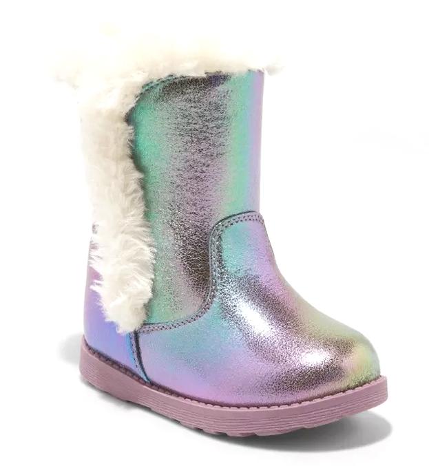 Cat & Jack Girls Katrina Toddler Faux Fur Shearling Tall Purple Winter Boots NWT