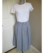 Lizwear Blue and White Blocked Checked Skirt Cute  No Slits  Modest - $19.99