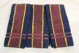 Vintage Ralph Lauren Stripe Hand Towel Navy Blue Burgundy Gold Striped S... - $49.50