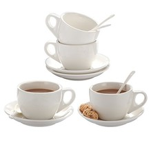 XUFENG 8oz Cappuccino Cups Set of 4 with Saucer White Porcelain for Latt... - £27.49 GBP