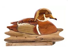 Wood Duck Bird Intarsia Table Top Home Decor Figurine Lodge New - $36.58