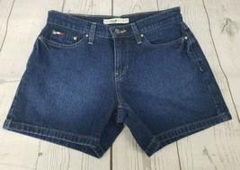 Tommy Hilfiger Boyfriend Jean Shorts Sz 2 Women Blue Box Logo Dark Wash Denim - $13.86