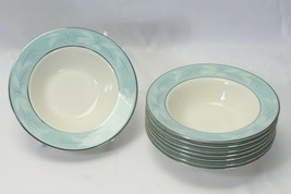 """Homer Laughlin Cavalier Romance Turquoise Fruit Berry Bowls 5.875"""" Lot of 8 - $39.19"""
