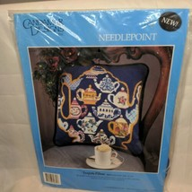 """Candamar Designs Teapots Pillow Needlepoint Kit 30830 14"""" x 14"""" NEW In P... - $39.54"""