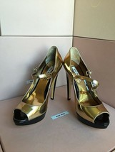 New PRADA Miu Miu Gold Metallic Buckle Platform 36.5 Open Toe High Heels Sandels - $329.99
