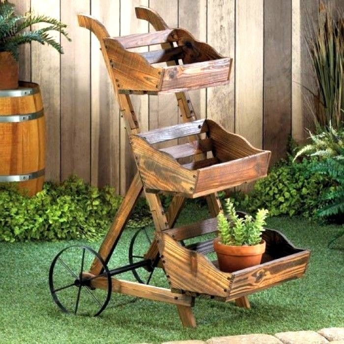"Country Cart Planter 39"" Tall Triple-Tier Plant Stand Garden Yard Decor Planter"