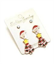 NEW 3 Pairs of Earrings on A Card ~ Christmas Tree, Santa & Rhinestone Stud - $1.99
