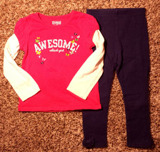 Girl's Size 3T 3T Years 2 Pc Pink OKB Awesome Butterfly L/S Top & Navy Leggings - $7.00