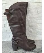 Liz & Co Dark Brown Knee-High Half-Zip Mid-Heeled Fashion Boots for Wome... - $16.83