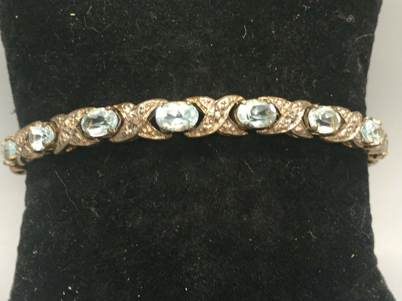 "Pretty Vintage 7"" Sterling Silver and Blue Topaz Bracelet Signed XOX"