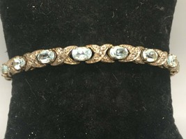 "Pretty Vintage 7"" Sterling Silver and Blue Topaz Bracelet Signed XOX - $15.84"