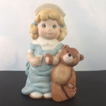 Wallace Berries Let's Pretend Ceramic Figurine Little Girl with Bear #8569 - $13.97