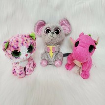 Lot of 3 Ty Beanie Boos Plush Sophie Cat Squeaker Mouse Darla Dragon Stuffed Toy - $16.99