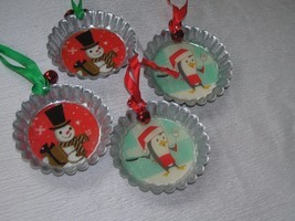 Lot of 4 Hallmark Large Metal Bottle Cap with Snowman or Cooking Penguin... - $16.10 CAD